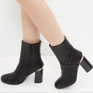 BLACK METAL TRIM BLOCK HEEL HIGH ANKLE BOOTS